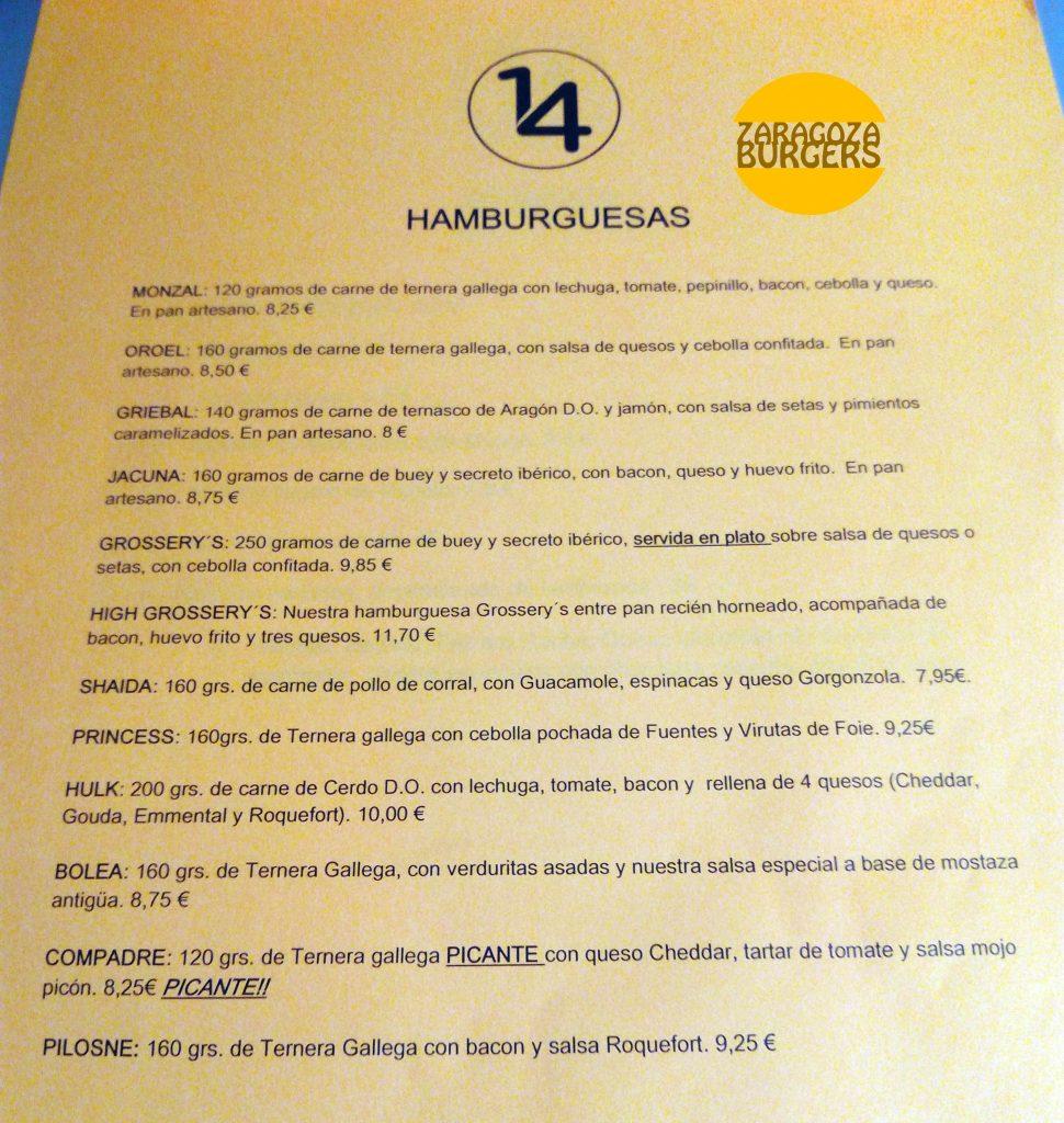 carta restaurante catorce 14 zaragoza hamburguesas