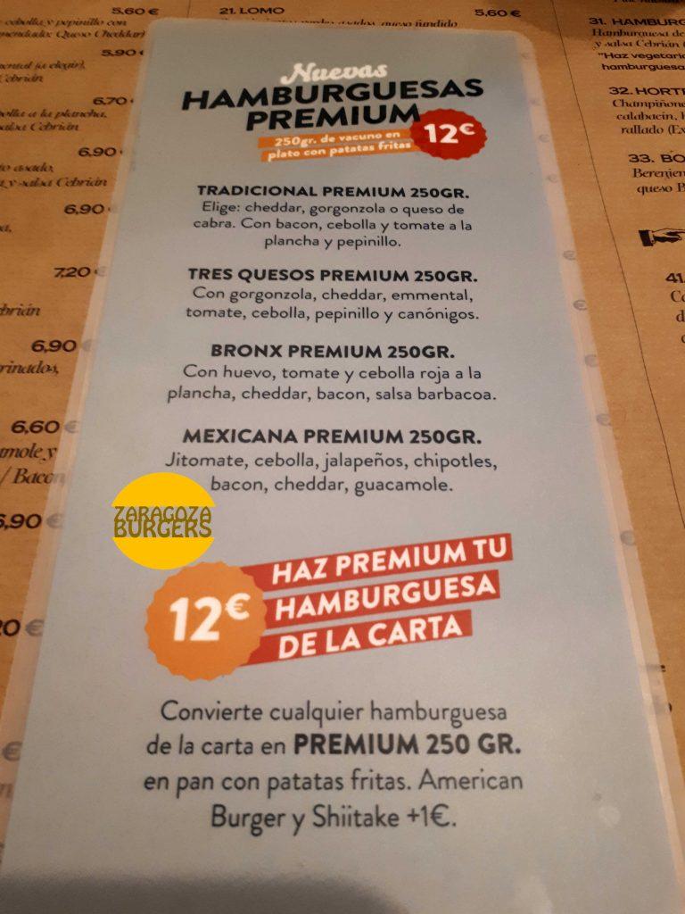 Carta hamburguesas premium cebrian