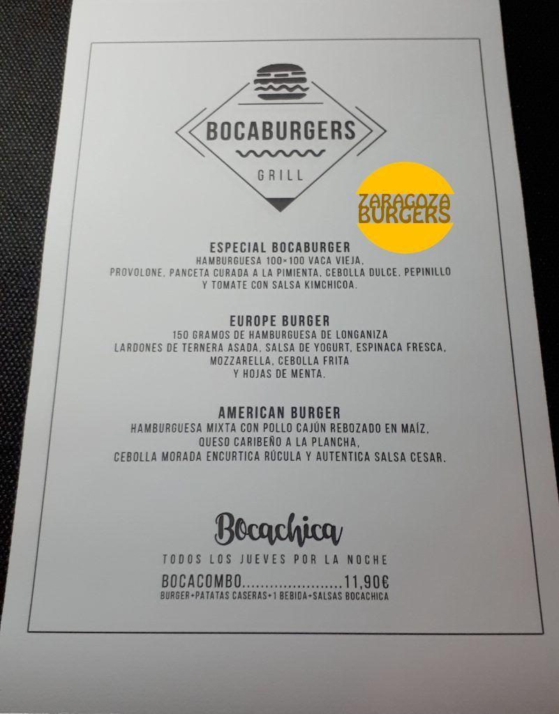carta hamburguesas restaurante bocachica